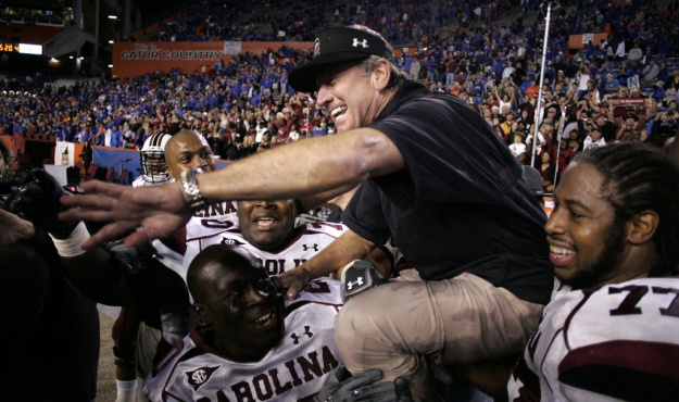 South Carolina head coach Steve Spurrier celebrates the Gamecocks&#039; win over Florida in Gainesville, Fla. on Saturday, Nov. 13, 2010. (Travis Bell/Sideline Carolina)