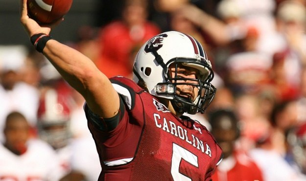South Carolina quarterback Stephen Garcia unloads a pass against Alabama during first-quarter action in Columbia, S.C. on Saturday, Oct. 9, 2010. Garcia was 17 for 20 with 201 total yards and 3 touchdowns.  (Travis Bell/Sideline Carolina)