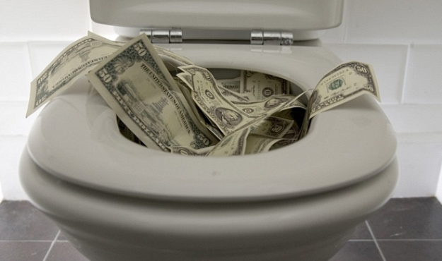 money in toilet