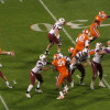 USC quarterback throws in the first quarter against Clemson.