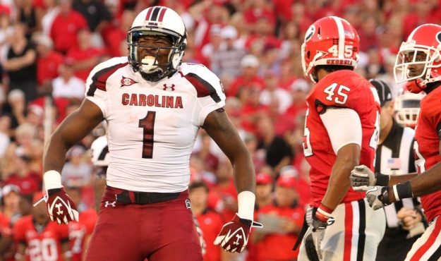 South Carolina's Alshon Jeffery celebrates after making a catch over Georgia during fourth-quarter action in Athens, Ga. on Saturday, Sept. 10, 2011. (Photo by Travis Bell/Sideline Carolina)